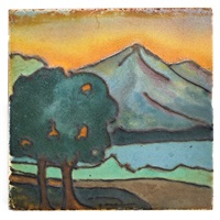 tile decorated with landscape by margaret cable