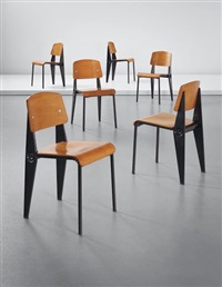 set of six rare demountable 'semi-metal' chairs, model no. 300 by jean prouvé
