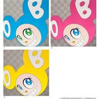 1. and then, and then and then and then and then(aqua blue) / 2. and then, and then and then and then and then(pink) / 3. and then, and then and then and then and then(yellow) (3 works) by takashi murakami