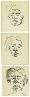 study #1 warhol portrait, study #2 for warhol portrait, final study #3 for warhol portrait (3 works) by alice neel