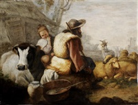 drovers resting with their flock; and peasants grazing cattle (2 works) by francesco londonio