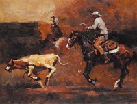 untitled - calf roping by jan liuwen
