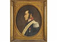 antoine joseph d'albert de roquevaux, garde du corps jusqu'en, mort en mai 1875 de la compagnie luxembourg, en buste de profil, portant l'étoile de la légion d'honneur by l. lirude