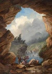scene fra en tyrolsk bjerggrotte. et ungt par forskrækkes af et krybdyr by friedrich ernst wolperding