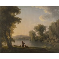 three fisherman resting alongside a lake by william ashford