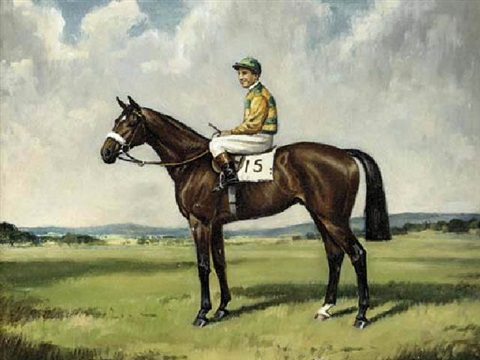 """harden ridden"", with charlie smirke up, in the colours of sir victor sassoon by richard anscomb"