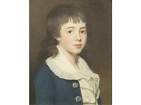 portrait of a boy, traditionally identified as henry west betty, bust-length, in a blue coat and white shirt by john opie