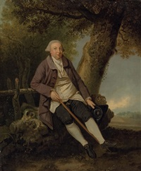 portrait of thomas bradshaw, esq., junior secretary to the treasurer, in a wooded landscape by johann joseph zoffany