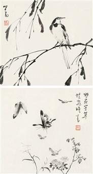 溥 儒(1896-1963) 水墨花鸟二帧 by pu ru