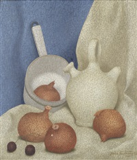 still life with onions by john armstrong