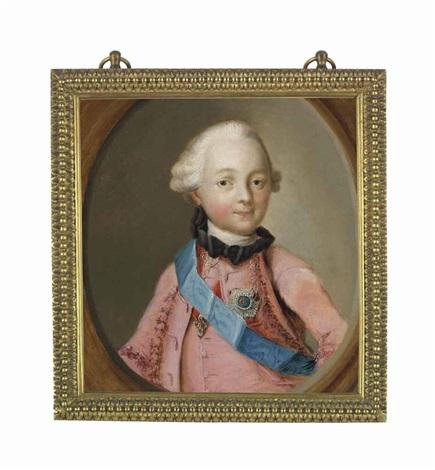 portrait of grand duke paul petrovich, later emperor paul i of russia (1754-1801), half-length, en deuil, in a pink coat, wearing the blue sash by virgilius erichsen