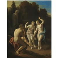 nymphs dancing to a pipe-playing shepherd by pieter van der werff