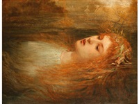 ophelia, a study of a woman wearing a headdress made of daisies lying in a river, with swans to the distance by sir john everett millais