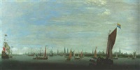 a boyer, a warship and other shipping on the river ij, off amsterdam by hendrick van anthonissen