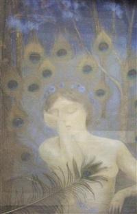 nu dans un décor de plumes de paons - composition symboliste by casimir stabrovsky