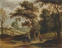 paysans revenant du marché et cavaliers sur un chemin (pair) by isaac van oosten