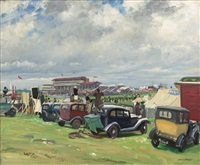 a dull day at epsom by dame laura knight