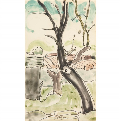 tree with farm beyond by arthur dove