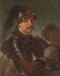 portrait of a man, half-length, in armour, wearing a helmet and a fur cape, holding a set of playing cards in his left hand by stefano torelli