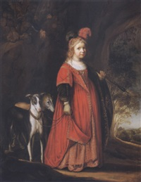 portrait of a girl as a huntress with her two dogs by johann spilberg the younger