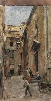 scorcio di chiesa e piazza sant'andrea; piazza della fonte (2 works) by fabio fabbi