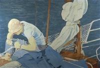 boy on a sailing boat by jurjen de haan