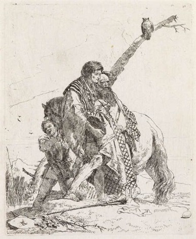 tre uomini e un cavallo from scherzi by giovanni battista tiepolo