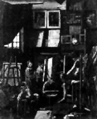 scène d'atelier à l'école des beaux-arts by eugène ernest hillemacher