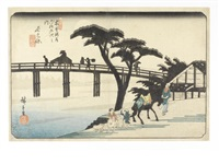 an oban print of nagakubo (from kisokaido rokujukyutsugi )(sixty-nine stations of the kisokaido) by ando hiroshige