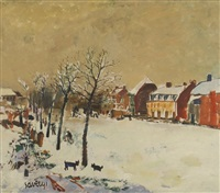 vue de village sous la neige by albert saverys