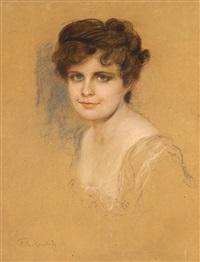 porträt einer jungen dame by friedrich august von kaulbach