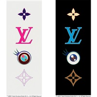 1. eye love superflat<eye pink> 2. eye love superflat<eye blue> (2 works) by takashi murakami