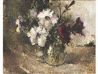 still life with flowers in a glass vase by irmin henkel