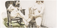 two female models on rocker and stool by philip pearlstein