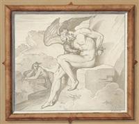 prometheus vom adler gepeinigt. links von ihm beklagt echo seine qualen by bonaventura genelli