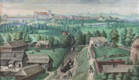 extensive village landscape by hans bol
