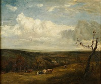 extensive landscape with cattle and drover in foreground by cecil gordon lawson