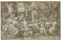the last supper; study of two angels playing musical instruments (recto-verso) by pomponio amalteo