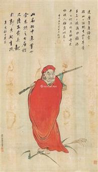 罗汉 立轴 绢本 by ding yunpeng and dang qichang