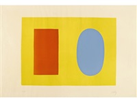 orange and blue over yellow by ellsworth kelly
