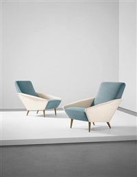 pair of 'distex' armchairs, model no. 807, from a villa, liguria by gio ponti