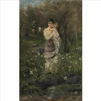 a mother and her child among lilies by joszi arpad koppay