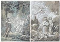 le couronnement d'une statue - jeune orateur devant les philosophes (pair) by jean guillaume moitte