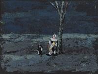clown und hund in landschaft mit baum by marie heide