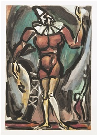 le clown à la grosse caisse by georges rouault