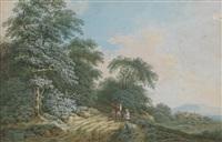 landschaft mit drei wanderern bei der rast by friedrich rauscher