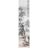 pair of mountain landscapes by liu tao