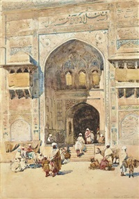 figures on the steps of the masjid wazir khan, lahore by robert weir allan
