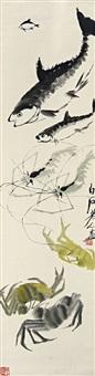 鱼虾蟹图 (fish, shrimps and crabs) by qi baishi