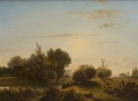 troupeau de moutons dans un paysage by pieter lodewijk francisco kluyver